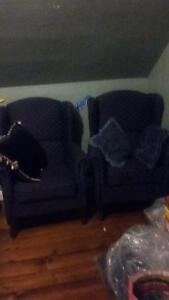 Blue high back arm chairs