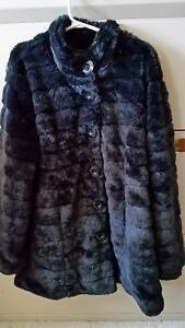 Girls Black Faux Fur Fall Dress Coat