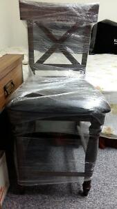 brand new counter height brown leather chair strong comfortable