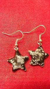 Black Star Stone Earrings