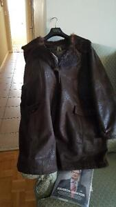 Mid-Length Faux Leather Warm Coat 56 to 59 Inches Under the Arms