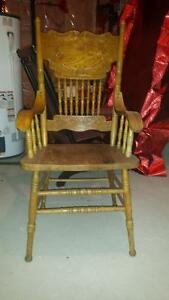 PRESSED BACK SOLID OAK CHAIR WITH ARMS-GOOD CONDITION