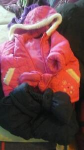 Winter suits for girls, hats, gloves and boots