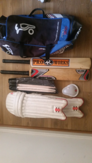Cricket gear-Kookaburra Bag, two Size 6 Bats, Gray Nicolls Pads,