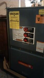 New 90btu down flow gas furnace with used wood add on packkage