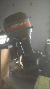 75 Hp Mariner Outboard with Quick Silver controls, key & cables Kingston Kingston Area image 2
