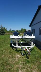 Pair of Yamaha Waverunners & trailer