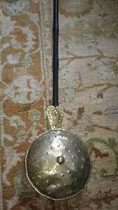 Antique Copper Brass Foot Warmer Bed Warming Pan Wood Handle