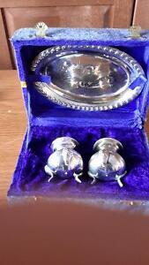 Antique silver Salt and Pepper / Plate Set
