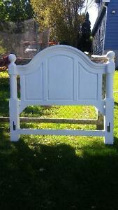 Queen size solid pine antiqued headboard never used