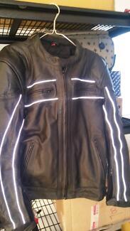 Motorbike full leather jacket and helmets
