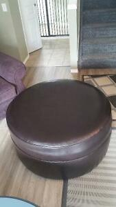 Large Brown Leather Ottoman