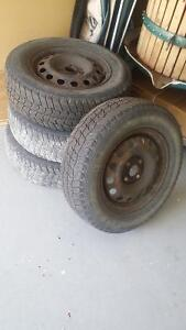 Winter Steel rims and tires  for winter Kitchener / Waterloo Kitchener Area image 1