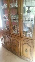 traditional oak dining set with 6 chairs, buffet and hutch