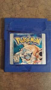 Pokemon blue on gameboy with case