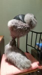 Genuine leather and fur hats for winter.