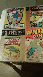 4 -Famous Edition comics -Superman-Action-Wonder Woman-whiz comi