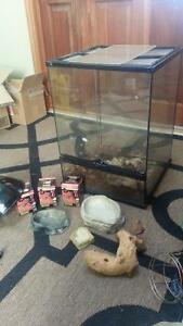 Reptile Enclosure with Screen on Top & Accesso
