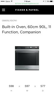 Fisher & Paykel (NEW IN BOX ) 60cm PYRO oven