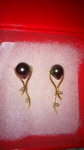 Boucles d'oreilles or 14k , diamants et pierres Tahiti (Joailler