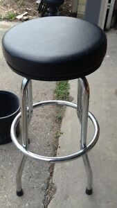 Chrome with black pleather seat bar stool for sale