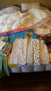 Quilts and 4 Swaddling Muslin Blankets
