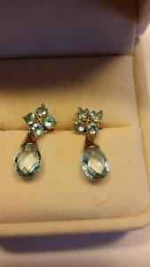 14kt genuine blue topaz earrings Peterborough Peterborough Area image 2