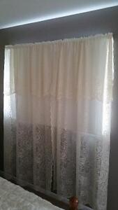 Curtains Drapes Rod Pocket cream coloured 4 panels each 54 x 80