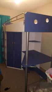 Single Loft Bed w/ Desk & Cabinet
