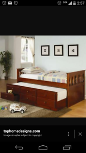 Hardwood bed with trundle + 1 mattress in excellent condit Shepparton Shepparton City Preview