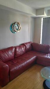 Genuine Red Leather Couch 2 Separable Parts