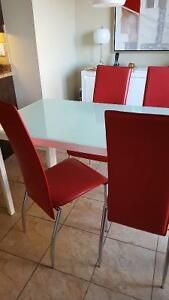 Modern red leather and chrome chairs - set of 4