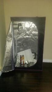 grow tent with light and reflector hood