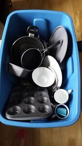 Big box of black and white dishes and more