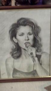 hand drawn portrait of the talented Celine Dion
