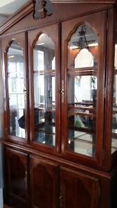 Mahogany cabinet and hutch - 2 pieces