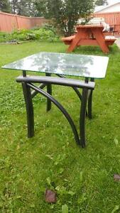 Porch or Yard glass top end table Edmonton Edmonton Area image 1