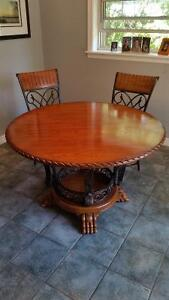 Round Clawfoot Table, six matching chairs