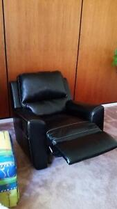 Leather couch and 2 matching reclining chairs