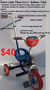 New riders 1 - 4 YEAR OLD$ 40 Elmo Little Tikes / bike / tricycle sesame street Brightly colorful $20 Scooter Pirates