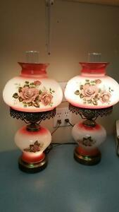 Beautiful hand painted vintage table lamps