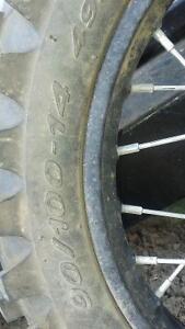 LIKE NEW pirelli scorpion 90/100-14 dirtbike tire on rim Belleville Belleville Area image 3