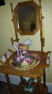 Antique Jug and Basin in antique stand