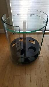 Glass rolling side table/ wine cart. Revised price.