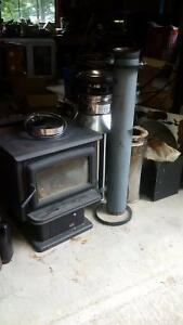 complete wood stove and chimney