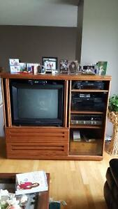 "Entertainment Center by Palister Quality Oak cabinet """"REDUCED"""""