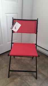 Chaise pliante rouge acier-textile