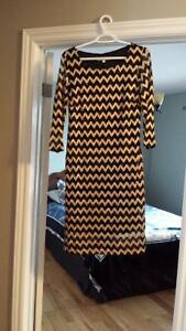 womens cleo new with tags gold black chevron dress small medium