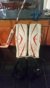 goalie pads shorts and stick