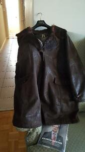 Mid-Length Faux Leather Coat, Fleece Lined, 4X